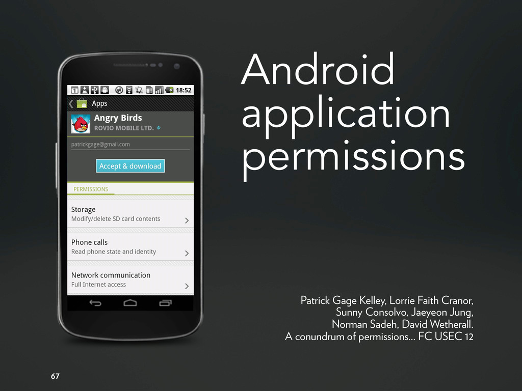 Android application permissions 67 Patrick Gage...