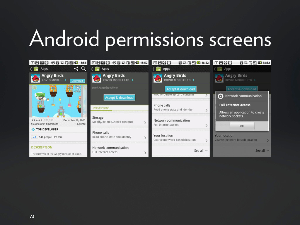 73 Android permissions screens