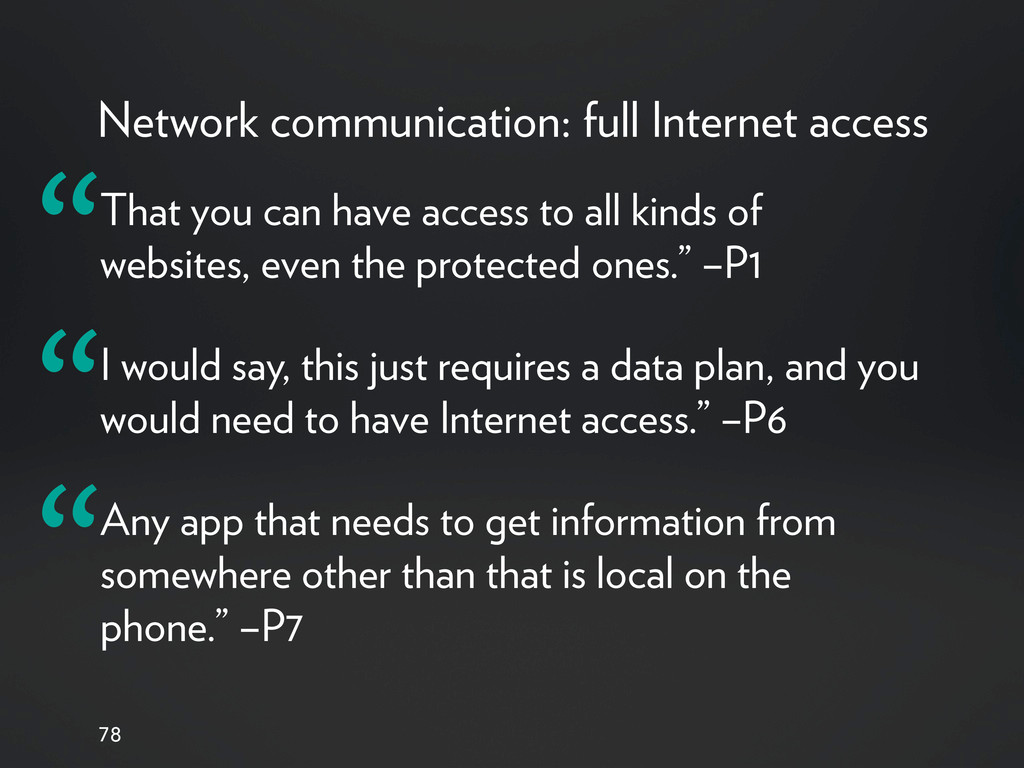 Network communication: full Internet access 78 ...
