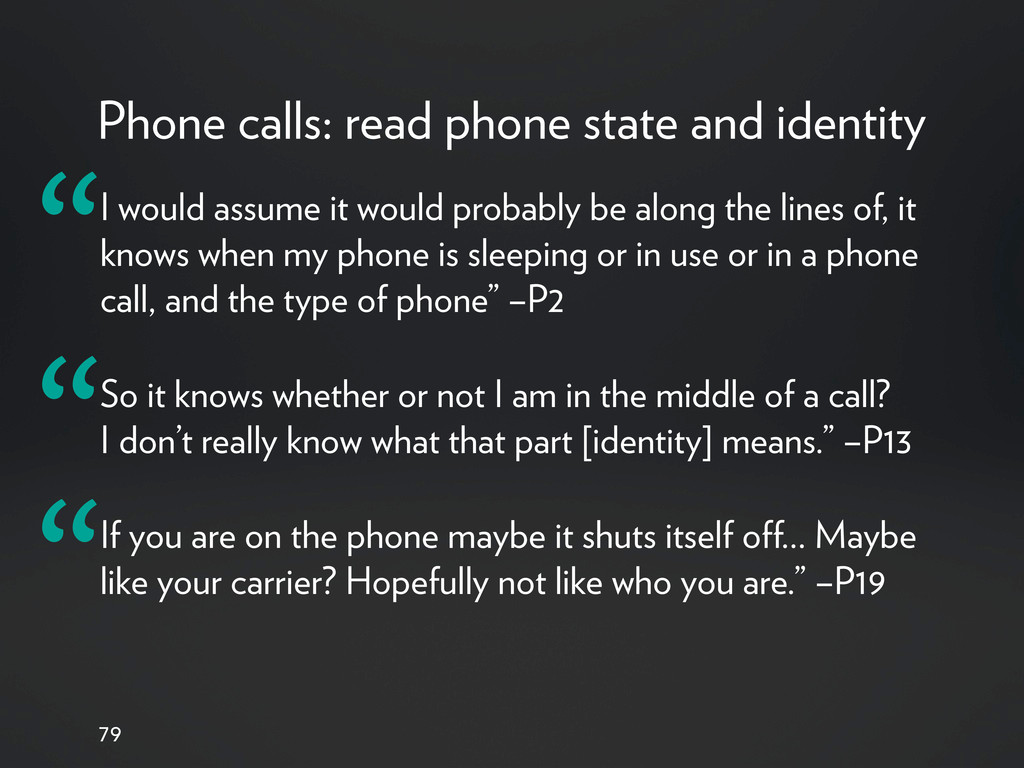 Phone calls: read phone state and identity 79 I...