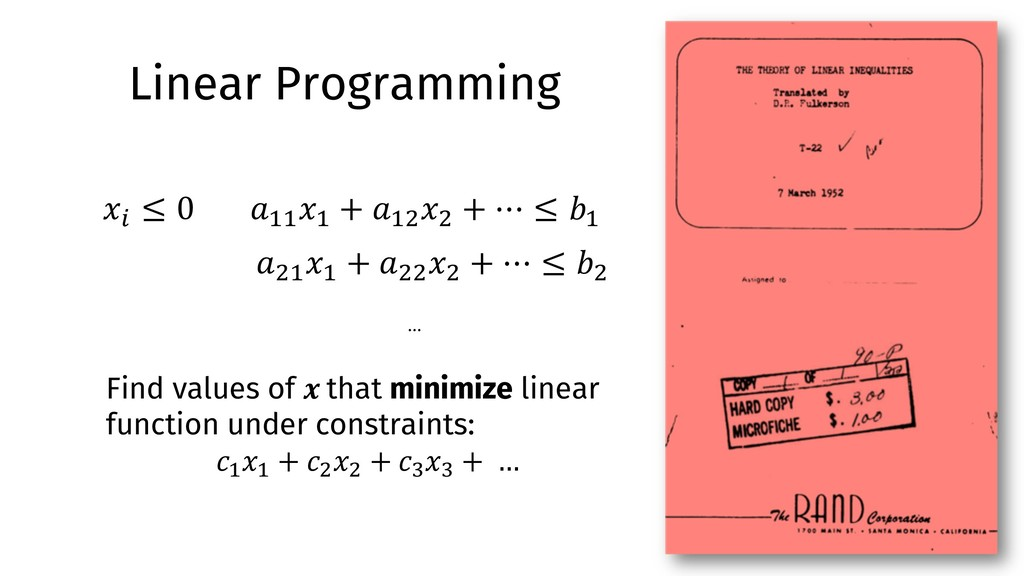 "Linear Programming !"""" #"" + !""% #% + ⋯ ≤ ("" !%""..."