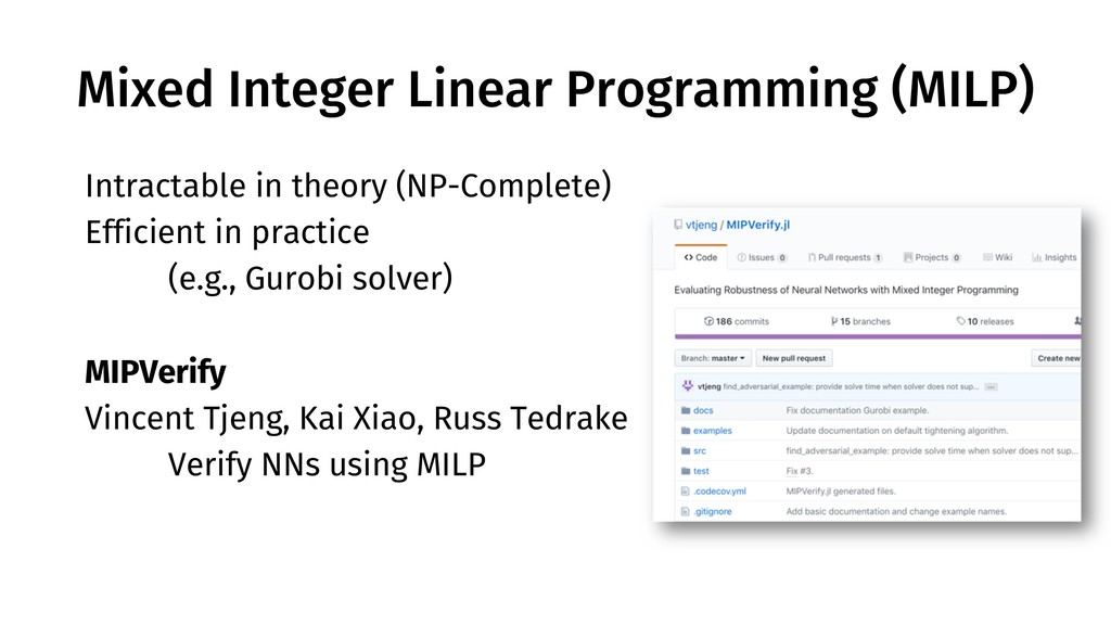 Mixed Integer Linear Programming (MILP) Intract...