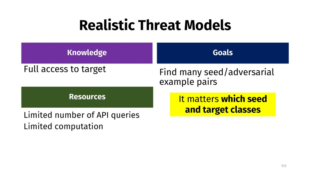 Realistic Threat Models Knowledge Full access t...