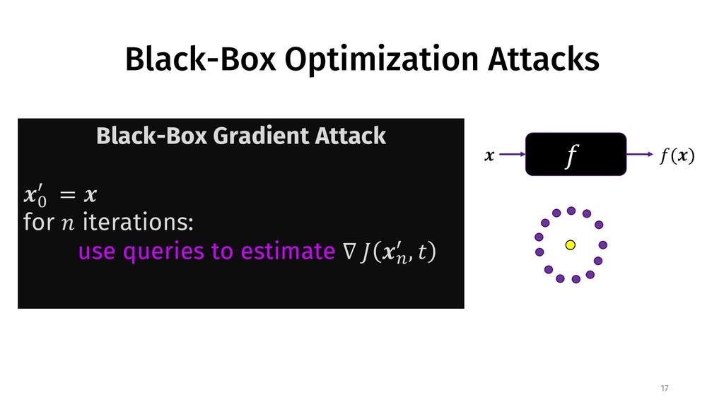"Black-Box Optimization Attacks 17 ! "" !("") Blac..."