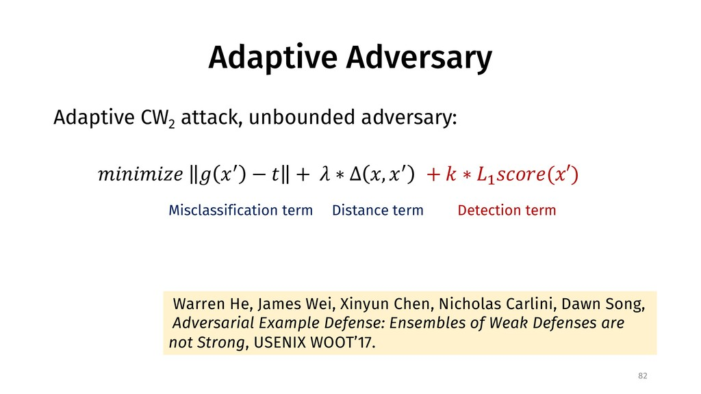 Adaptive Adversary Adaptive CW 2 attack, unboun...