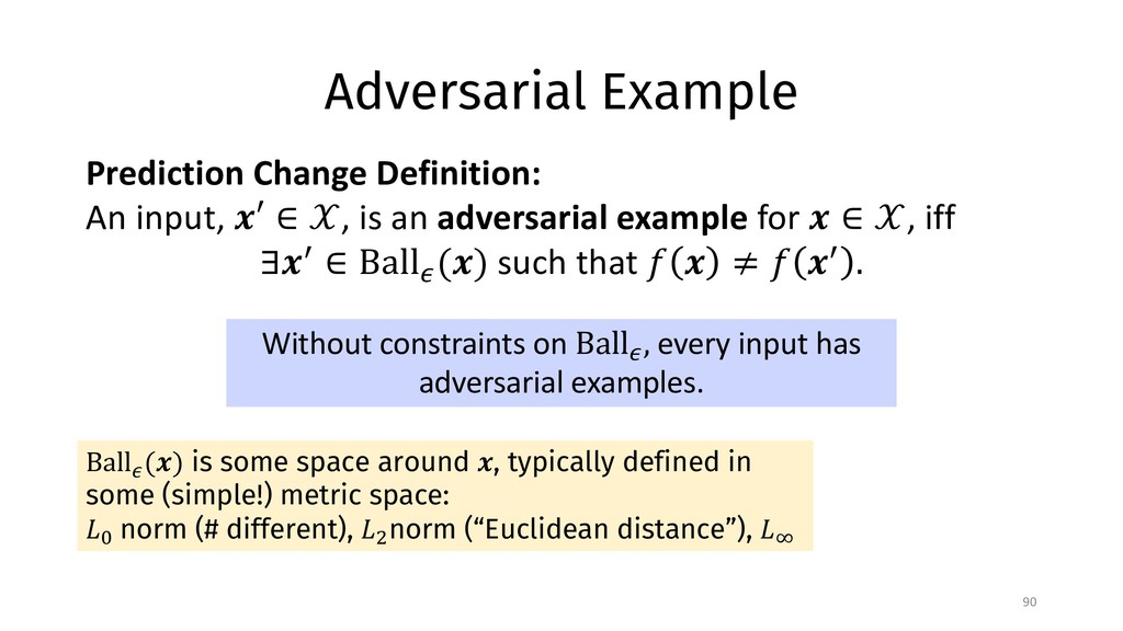 Adversarial Example 90 Ball$ (&) is some space ...