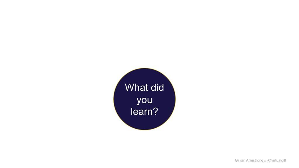 Gillian Armstrong // @virtualgill What did you ...