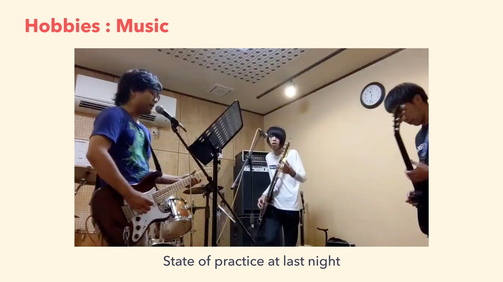 Hobbies : Music State of practice at last night