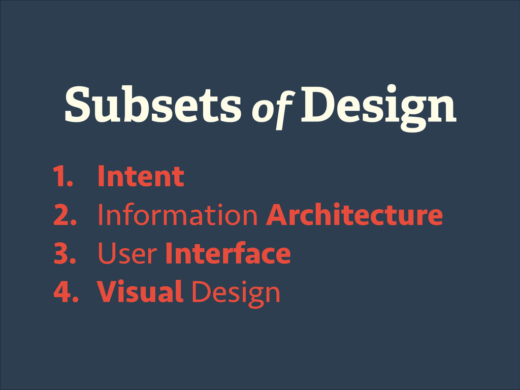 Subsets of Design 1. Intent 2. Information Arch...