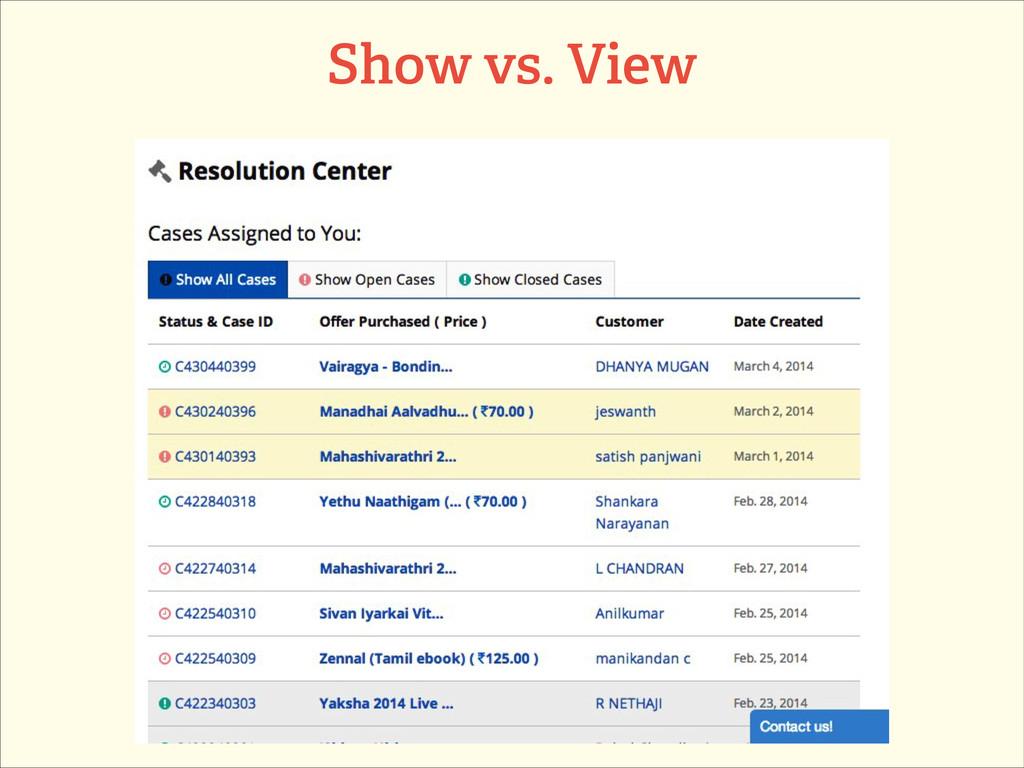 Show vs. View