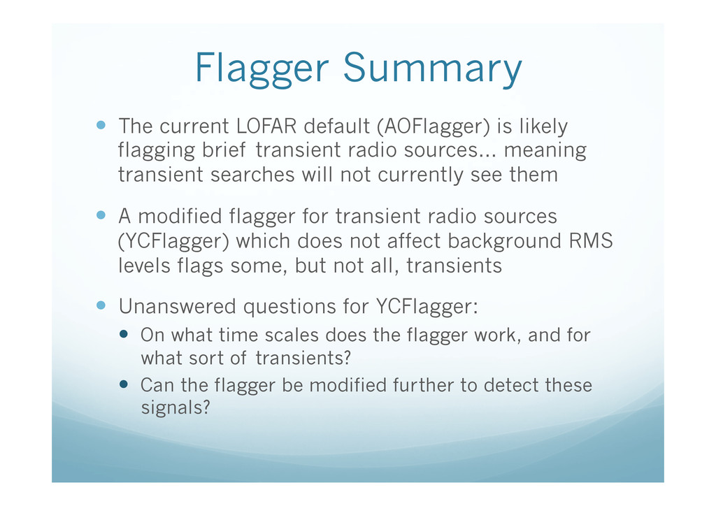 Flagger Summary — The current LOFAR default (...