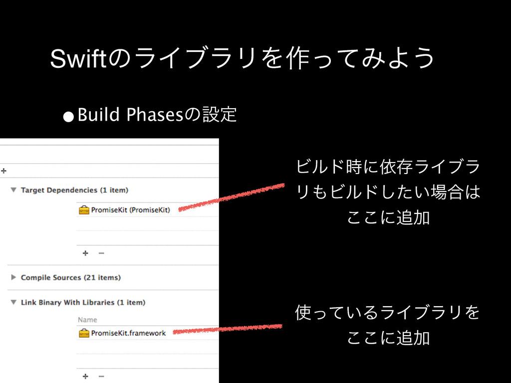 SwiftͷϥΠϒϥϦΛ࡞ͬͯΈΑ͏ •Build Phasesͷઃఆ ͍ͬͯΔϥΠϒϥϦΛ...