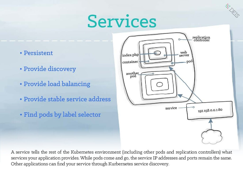 A service tells the rest of the Kubernetes envi...
