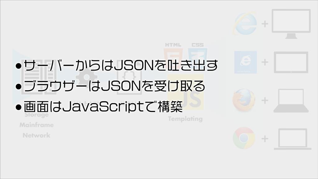 •サーバーからはJSONを吐き出す •ブラウザーはJSONを受け取る •画面はJavaScri...