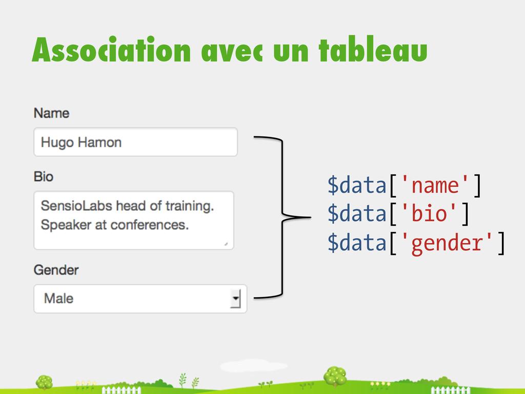 Association avec un tableau $data['name'] $data...