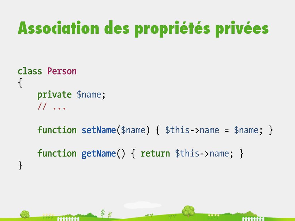 Association des propriétés privées class Person...