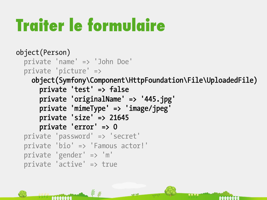 Traiter le formulaire object(Person) private 'n...