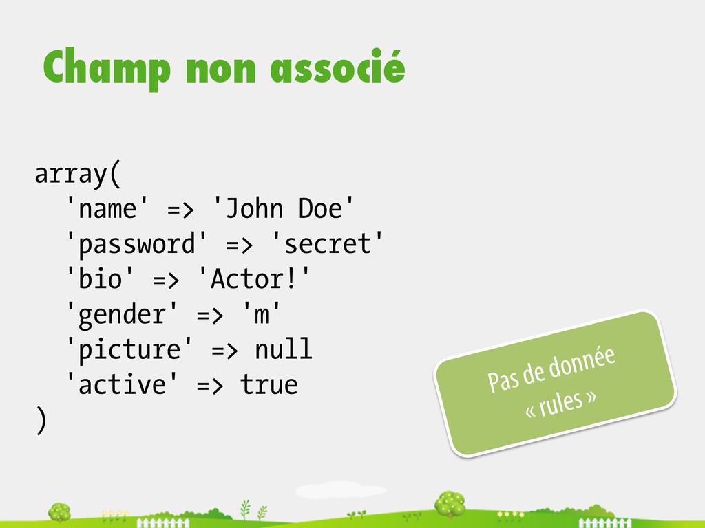 array( 'name' => 'John Doe' 'password' => 'secr...