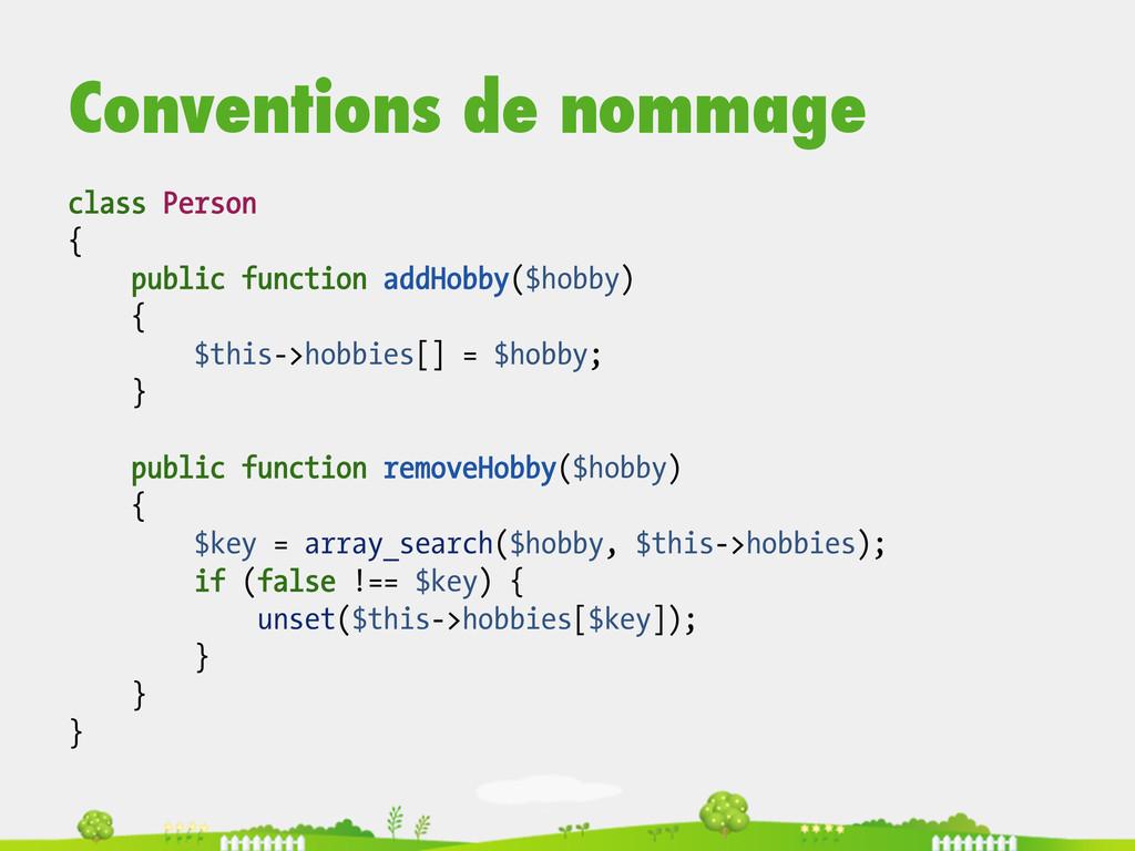 Conventions de nommage class Person { public fu...