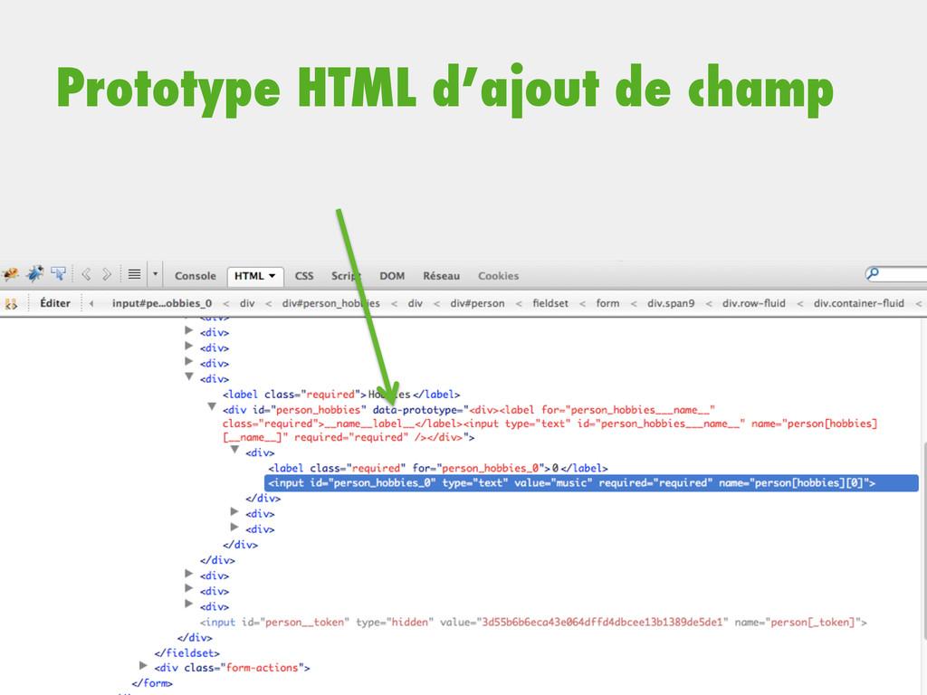 Prototype HTML d'ajout de champ