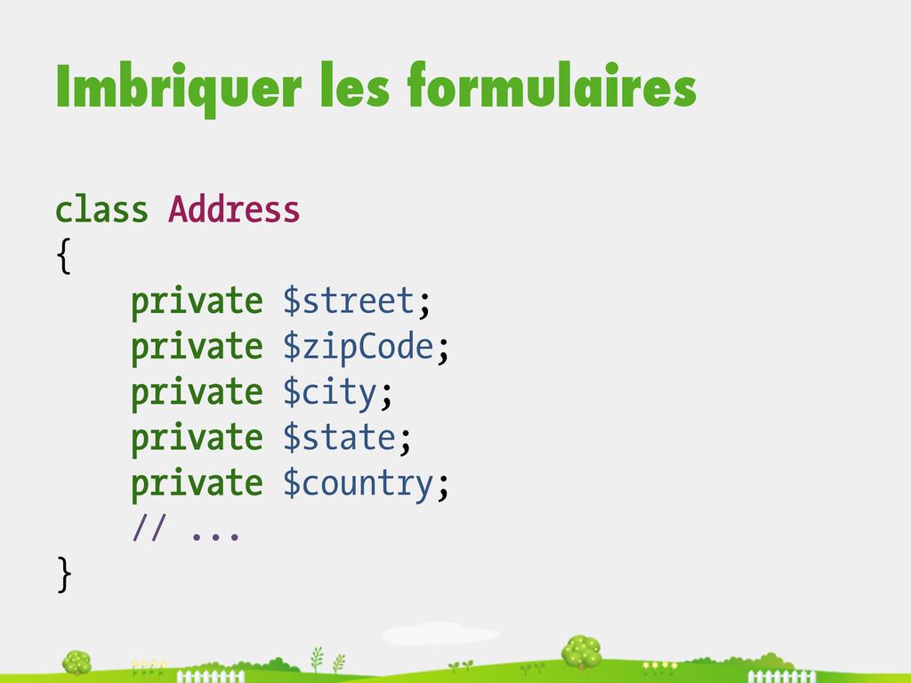 Imbriquer les formulaires class Address { priva...