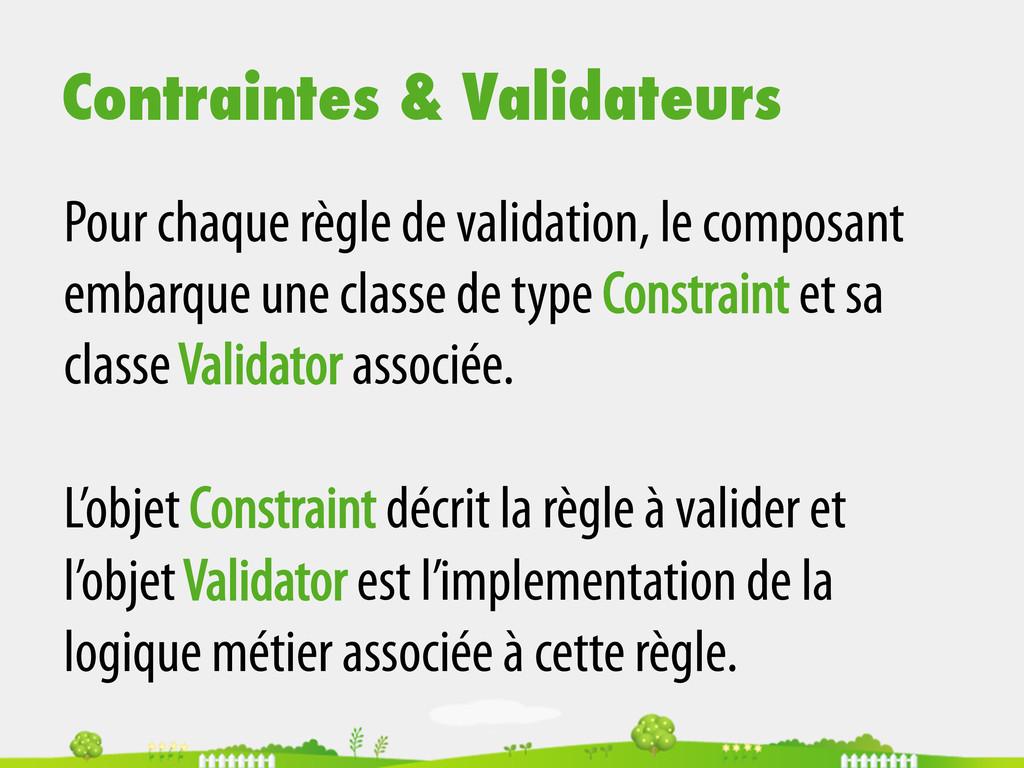 Contraintes & Validateurs Pour chaque règle de ...