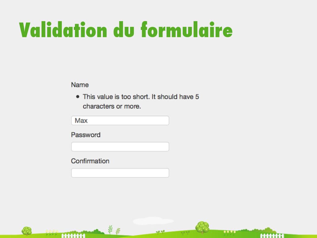 Validation du formulaire