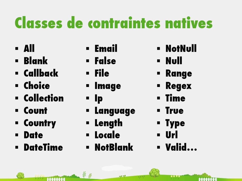 Classes de contraintes natives § All § Blan...