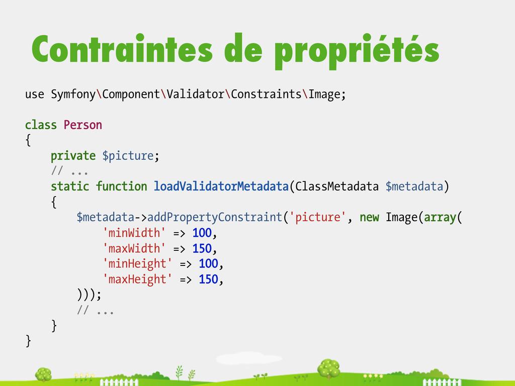 Contraintes de propriétés use Symfony\Component...