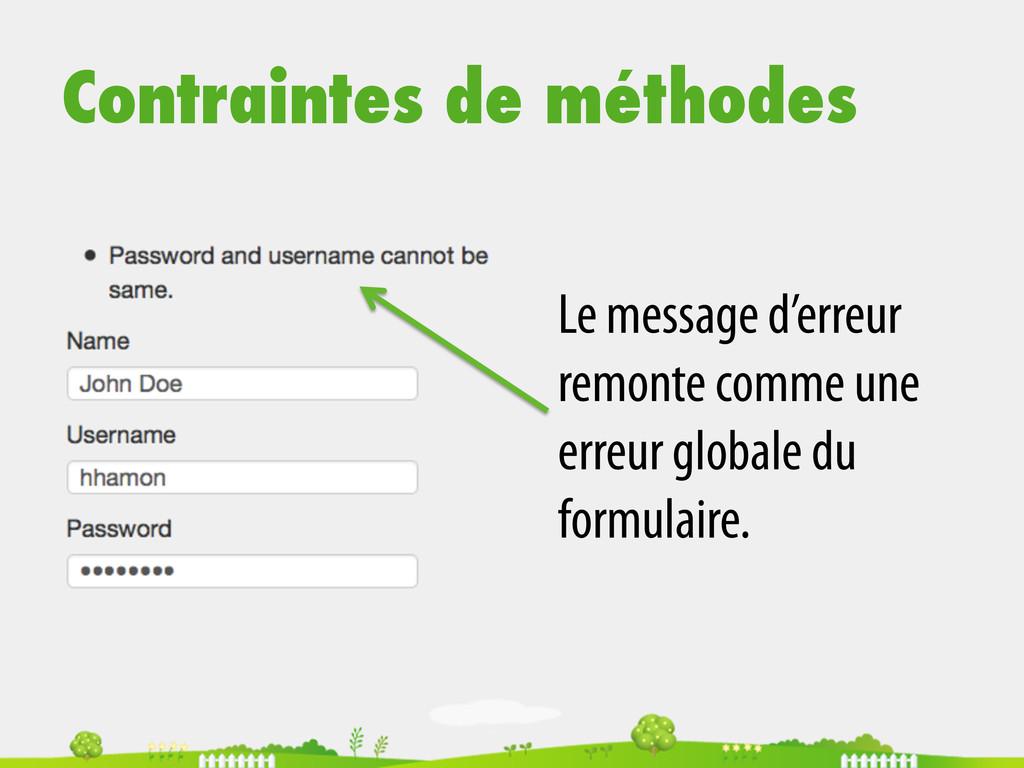 Contraintes de méthodes Le message d'erreur rem...