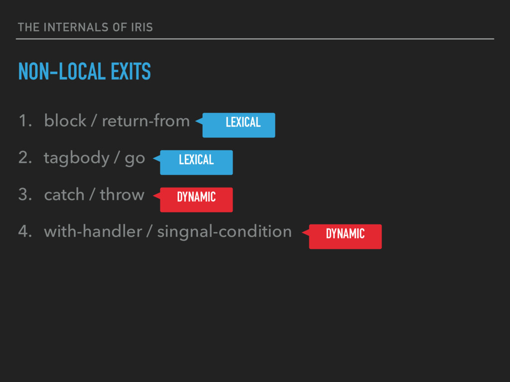 THE INTERNALS OF IRIS NON-LOCAL EXITS 1. block ...