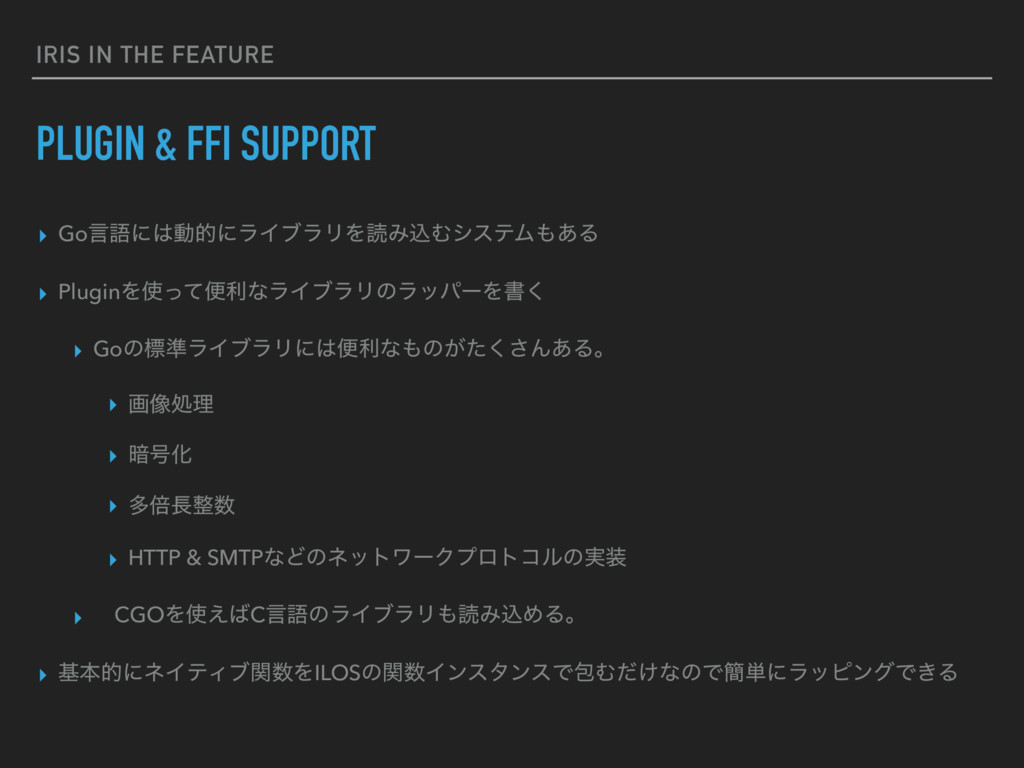 IRIS IN THE FEATURE PLUGIN & FFI SUPPORT ▸ Goݴޠ...