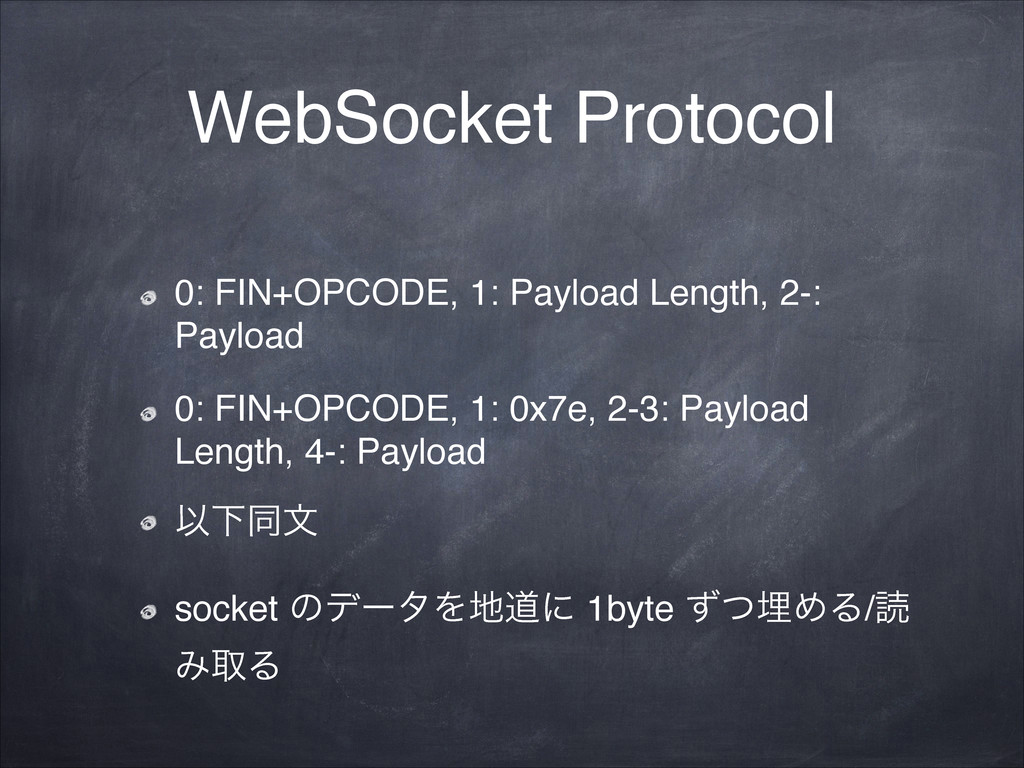 WebSocket Protocol 0: FIN+OPCODE, 1: Payload Le...