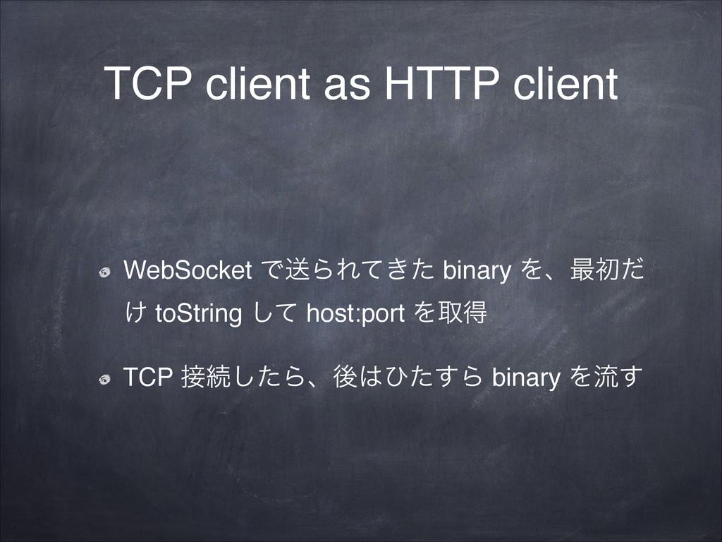 TCP client as HTTP client WebSocket ͰૹΒΕ͖ͯͨ bin...