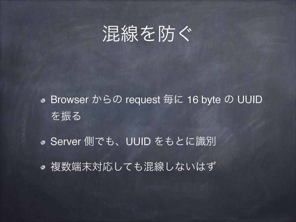 ࠞઢΛ͙ Browser ͔Βͷ request ຖʹ 16 byte ͷ UUID ΛৼΔ...