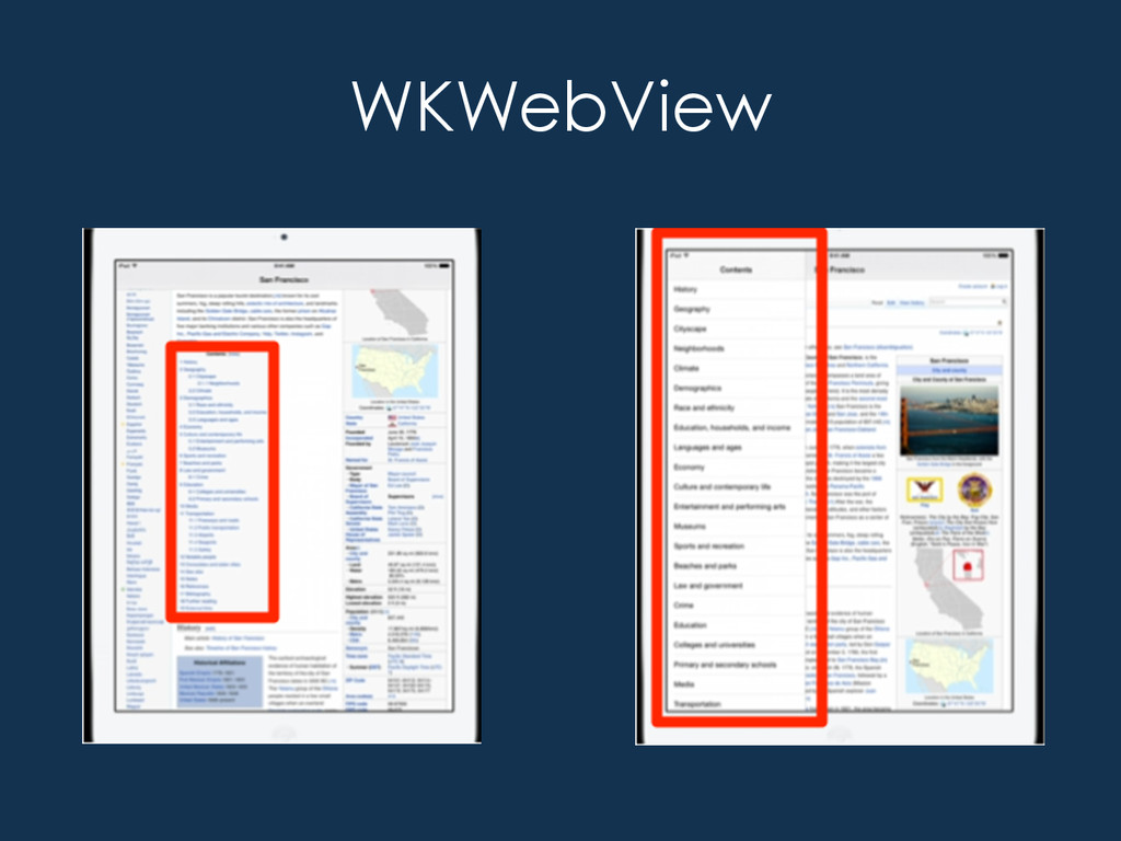 WKWebView • It's the Safari WebView – Multi P...
