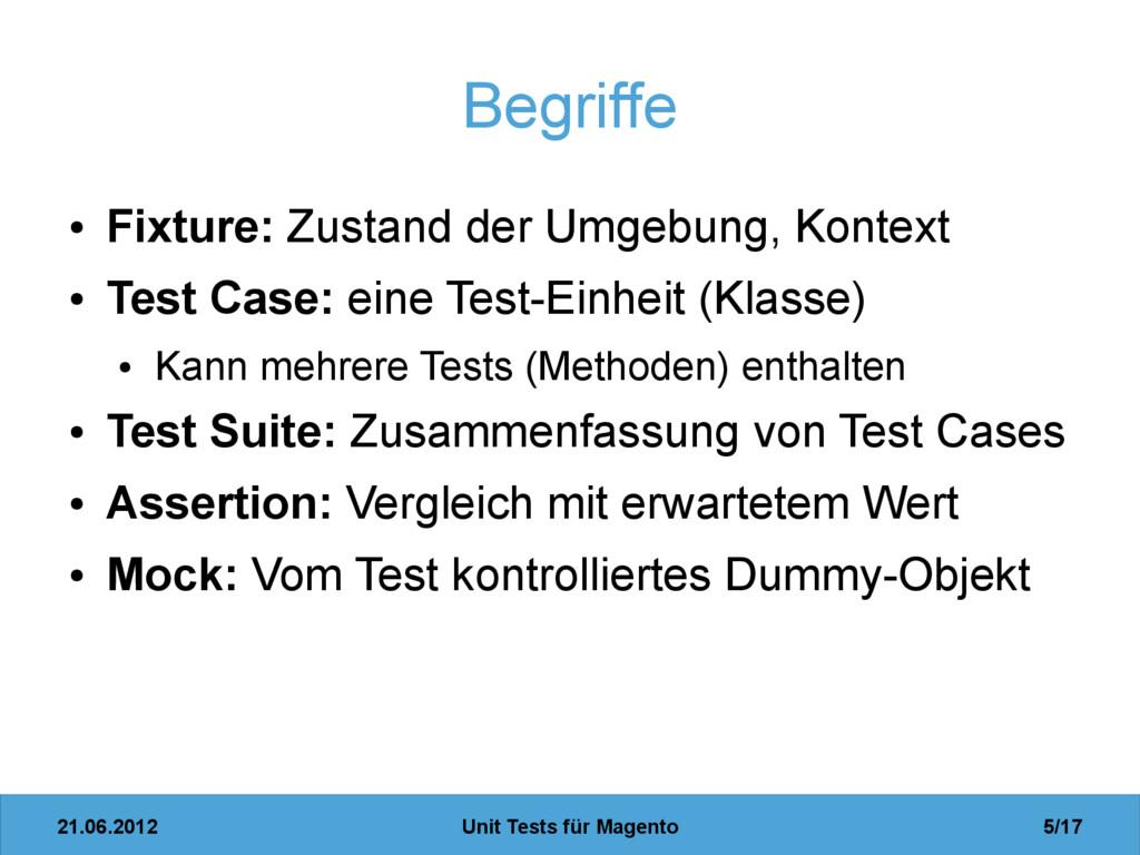 21.06.2012 Unit Tests für Magento 5/17 Begriffe...