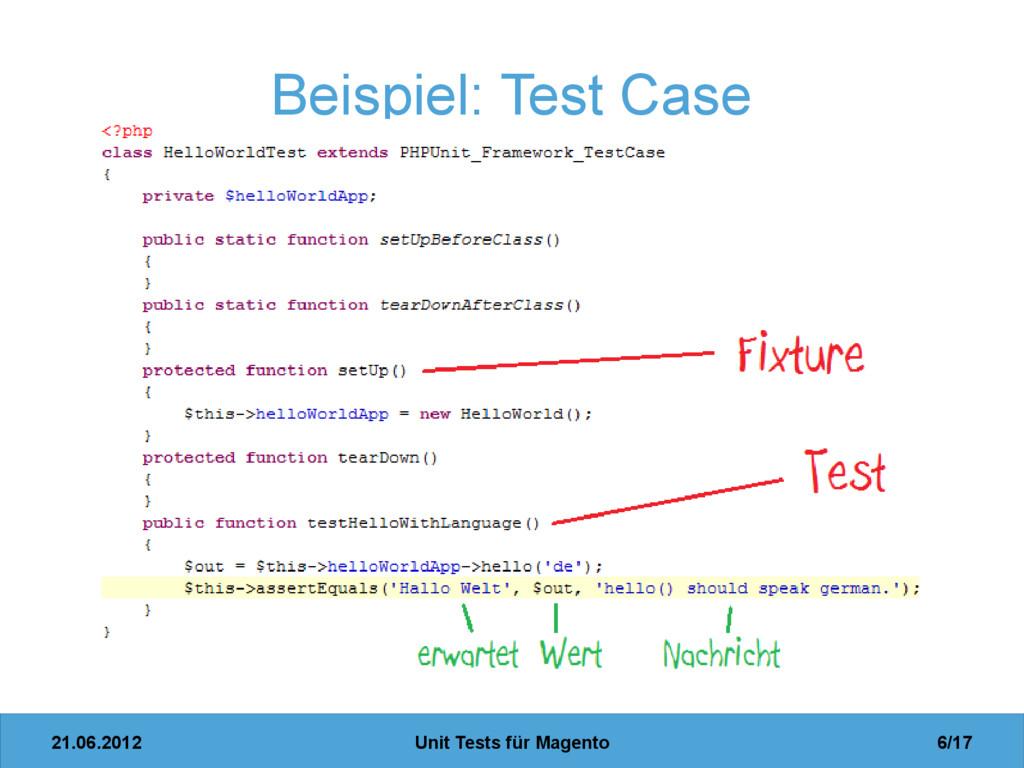 21.06.2012 Unit Tests für Magento 6/17 Beispiel...