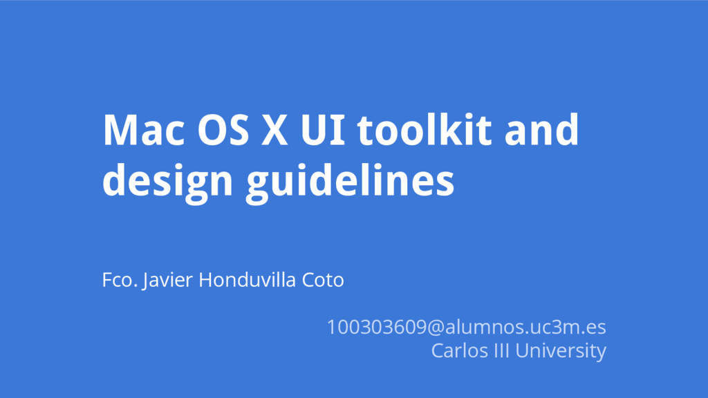 Mac OS X UI toolkit and design guidelines Fco. ...