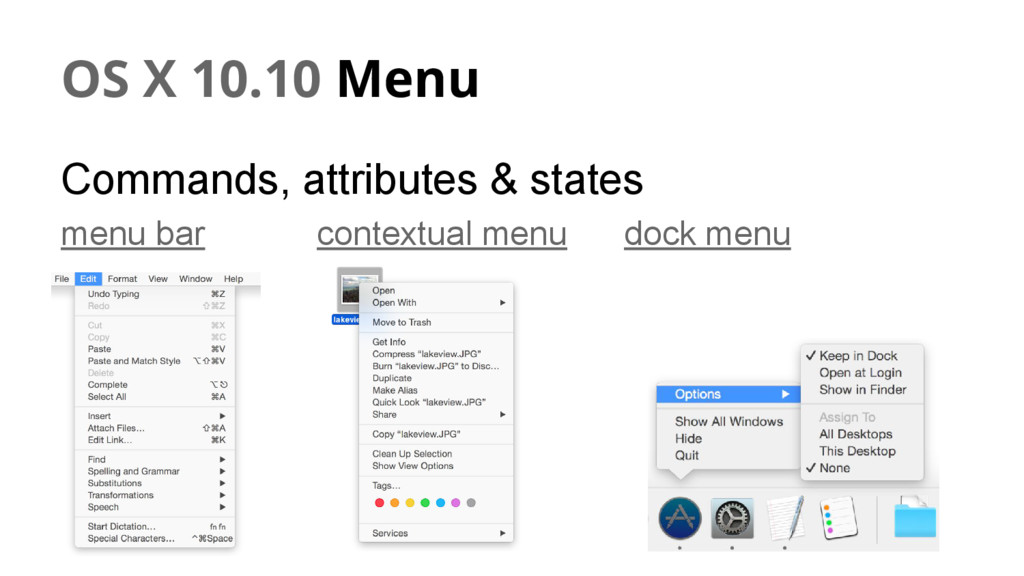 OS X 10.10 Menu Commands, attributes & states m...