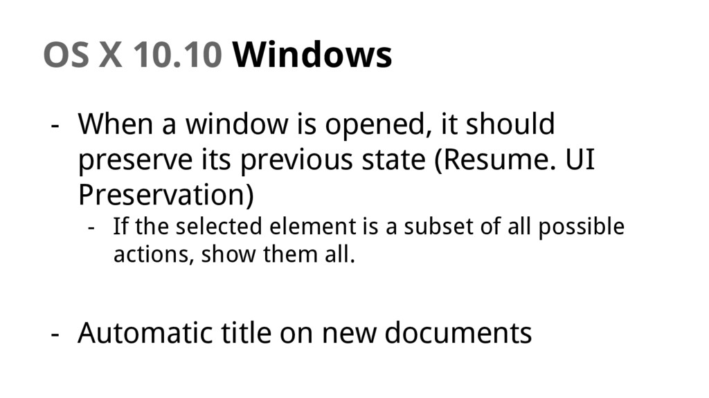 OS X 10.10 Windows - When a window is opened, i...