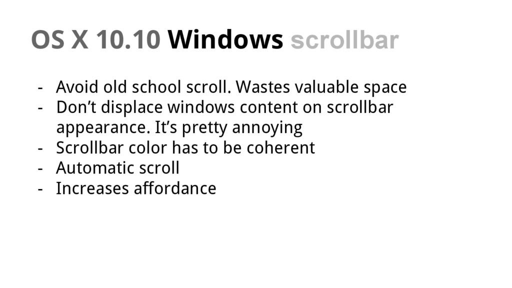 OS X 10.10 Windows scrollbar - Avoid old school...