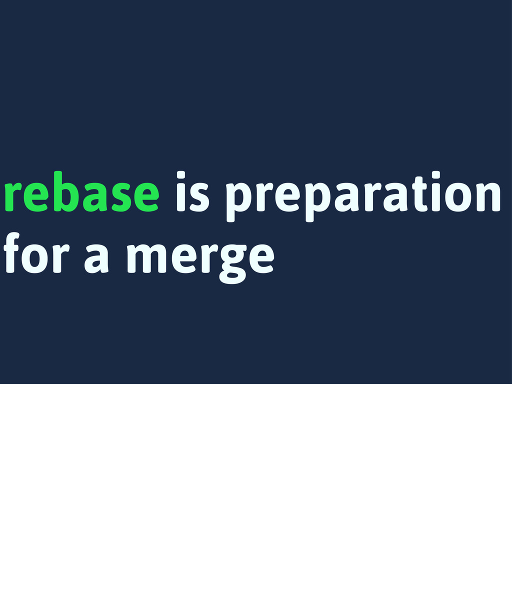 rebase is preparation for a merge