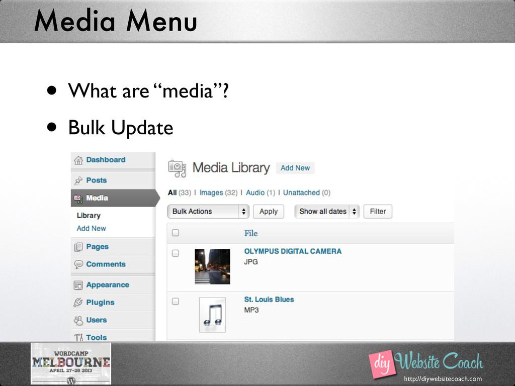 http://diywebsitecoach.com Media Menu • What ar...