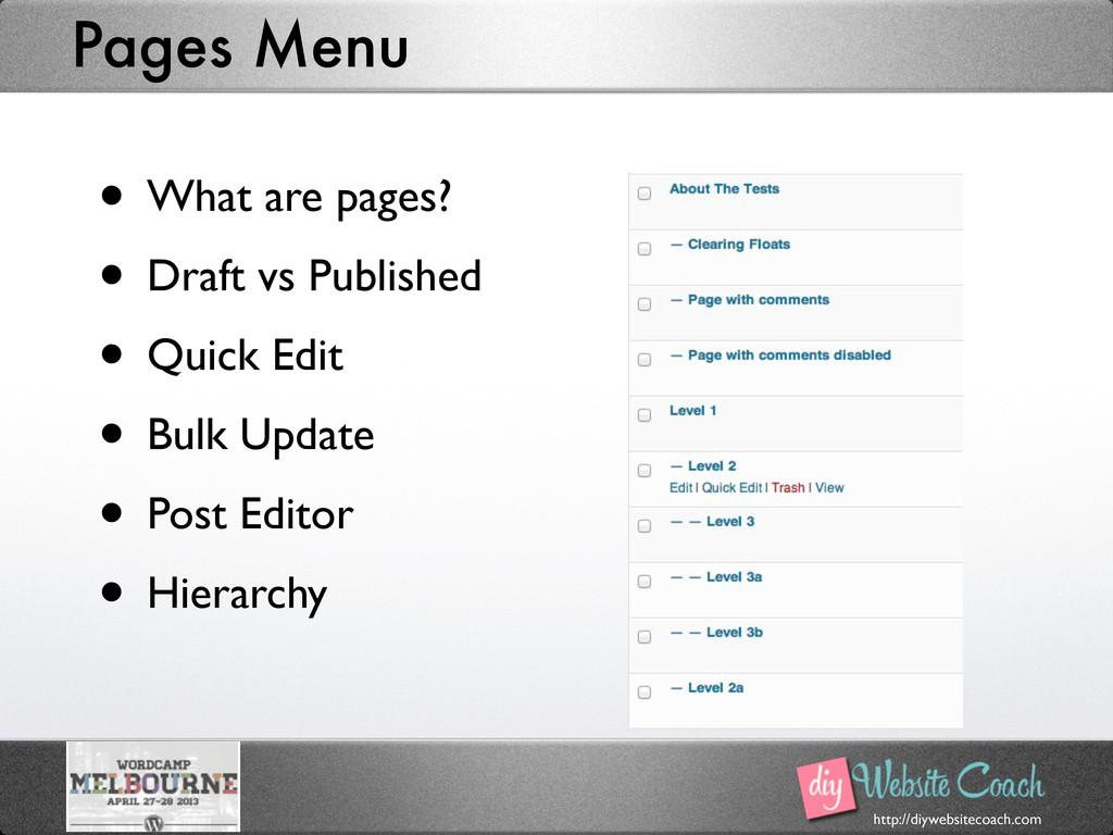 http://diywebsitecoach.com Pages Menu • What ar...