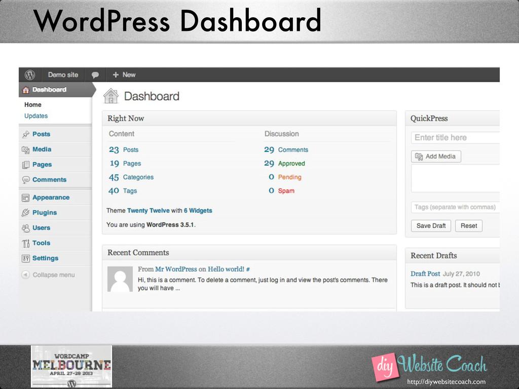 http://diywebsitecoach.com WordPress Dashboard