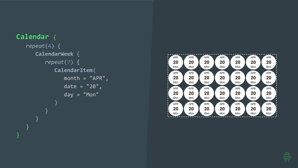 Calendar { repeat(4) { CalendarWeek { repeat(7)...