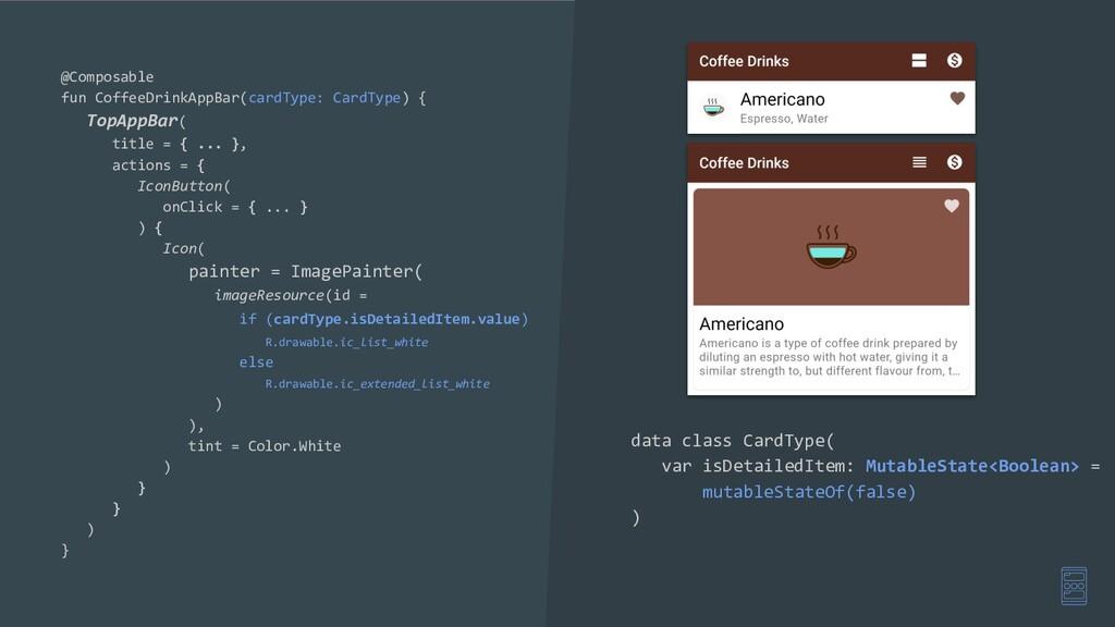 @Composable fun CoffeeDrinkAppBar(cardType: Car...