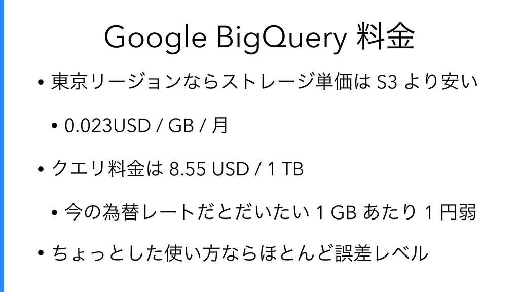 Google BigQuery ྉۚ • ౦ژϦʔδϣϯͳΒετϨʔδ୯Ձ S3 ΑΓ͍҆ ...