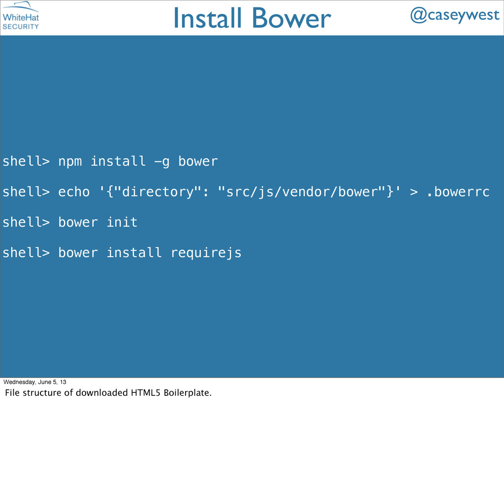 "shell> npm install -g bower shell> echo '{""dire..."